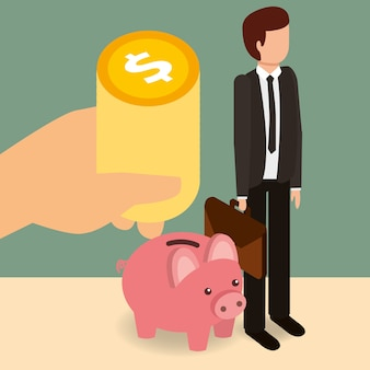 Businessman with piggy bank and hand cooins money isometric
