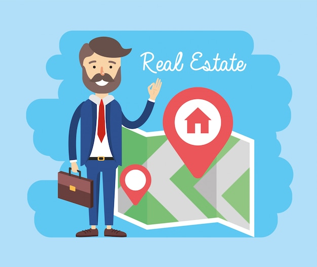 Businessman with property map location to sale