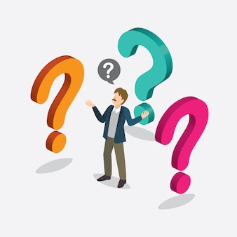 Businessman with question mark isometric