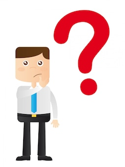 Businessman with question sign over white background vector