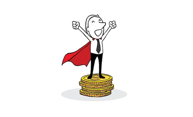 Businessman with red cape standing on big gold coin