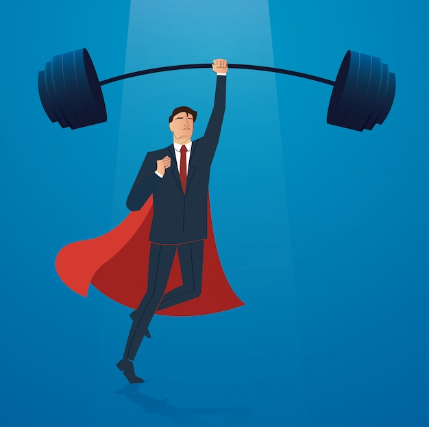 Businessman with red cape weight lifting vector