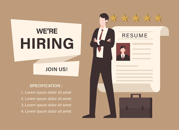 Businessman with resume illustration. staffing and recruiting business concept
