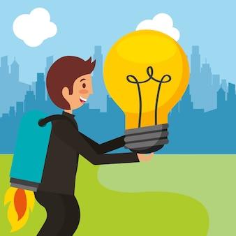 電球のアイデアを持って後ろにロケットを持つ実業家