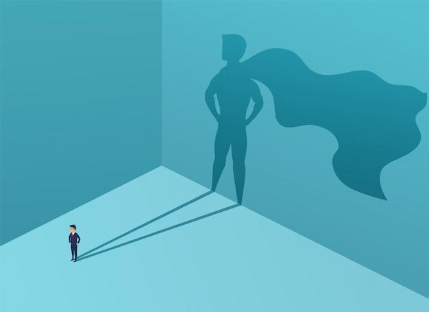 Бизнесмен с супергероем тени. суперменеджер-лидер в бизнесе. понятие успеха, качества лидерства, доверия. векторная иллюстрация