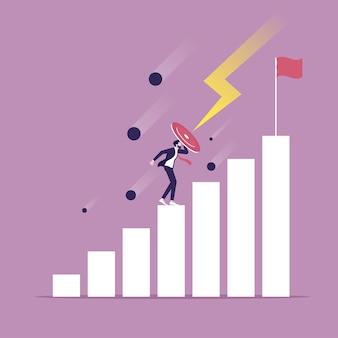 쉴드가 달린 사업가가 장벽을 뛰어 넘어 성공으로 향한다