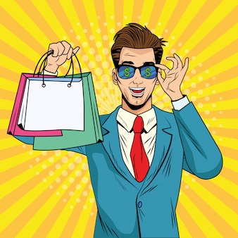 Businessman with shopping bags and sunglasses pop art style