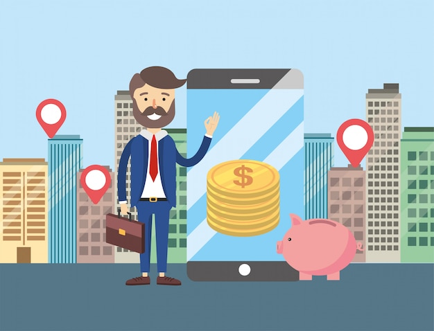 Businessman with smartphone and apartment sale location