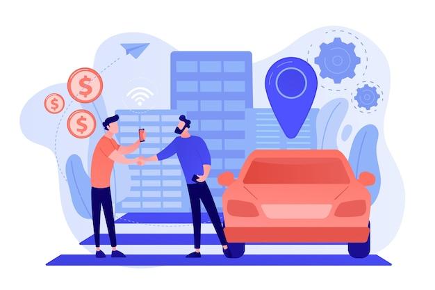 スマートフォンを持っているビジネスマンは、カーシェアリングサービスを介して路上で車を借ります。カーシェアリングサービス、短期賃貸、最高のタクシー代替コンセプト