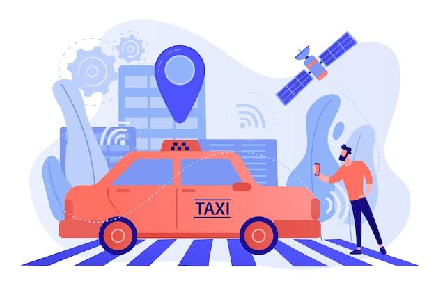 センサーとロケーションピンで無人タクシーに乗るスマートフォンを持つビジネスマン。自動運転タクシー、自動運転タクシー、オンデマンドカーサービスのコンセプト