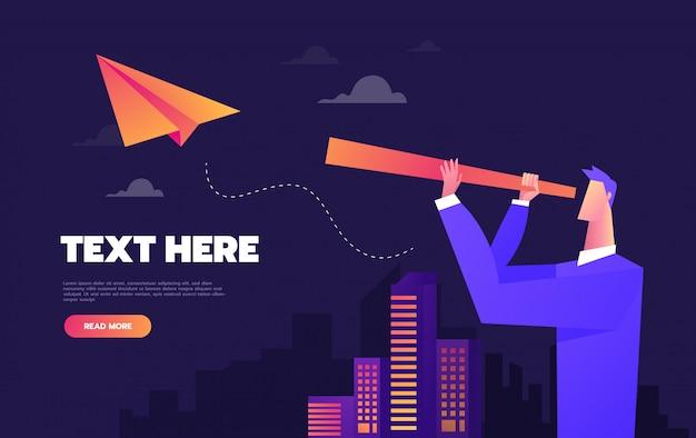 Бизнесмен с подзорная труба на бумажный самолетик. векторная иллюстрация eps10 файл. глобальные цвета. текст и текстура в отдельных слоях