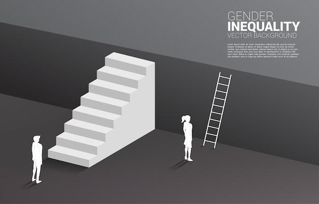 Businessman with stair and businesswoman with ladder to go upper level floor.concept of gender inequity in business and obstacle in woman career path