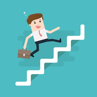Businessman with suitcase climbing the stairs of success.