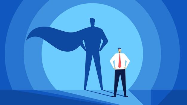 슈퍼 히어로 그림자 리더십 개념을 가진 사업가