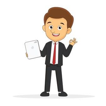Бизнесмен с планшетом, жестикулирующий и подмигивающий