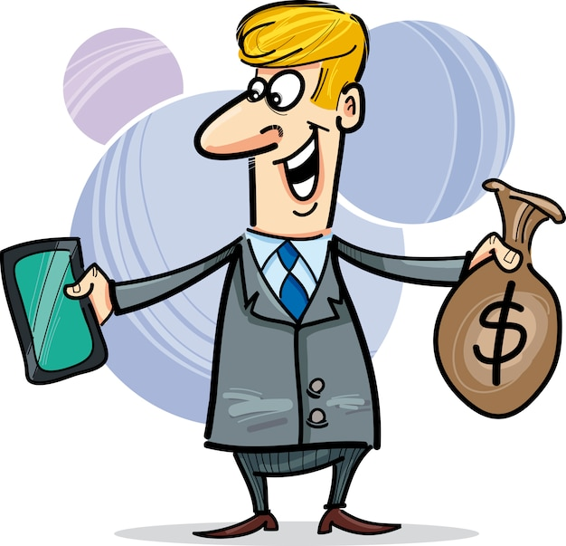 Businessman with tablet and sack of dollars