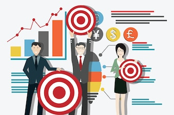 Businessman with team hold the target and graphic chart on the background