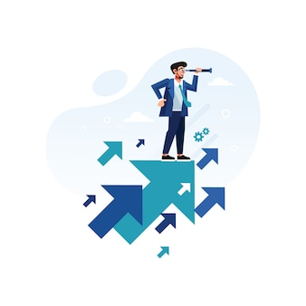 Businessman with telescope standing on growth arrow