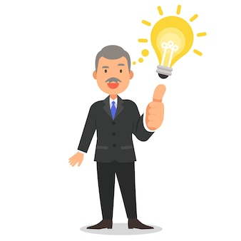 Businessman with thumb up cartoon character