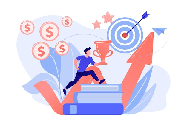 Businessman with trophy cup jumping on books to target and rising arrow. motivation, job success, encouragement concept on white background.