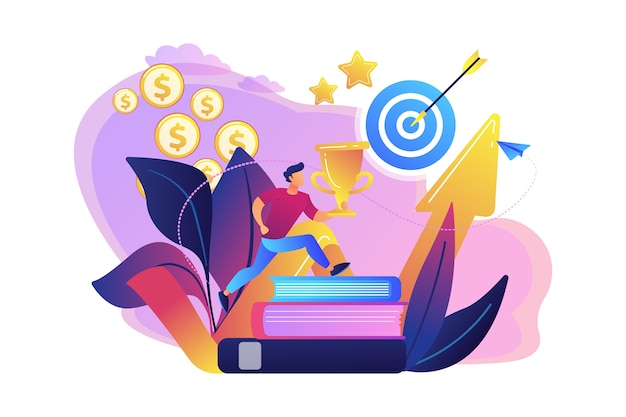 ターゲットと上昇矢印に本にジャンプするトロフィーカップを持つビジネスマン。モチベーション、仕事の成功、励ましの概念