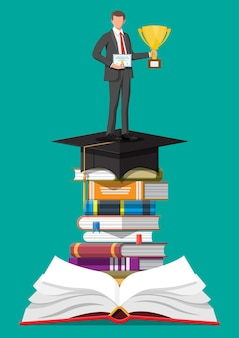 도 서의 스택에 트로피와 함께 사업가입니다. 졸업장을 가진 사업가입니다. 교육 및 연구. 비즈니스 성공, 승리, 목표 또는 성취. 경쟁의 승리. 벡터 일러스트 레이 션 평면 스타일