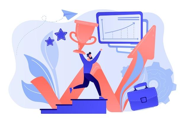 L'uomo d'affari con il trofeo corre su per le scale e il grafico di crescita. successo aziendale, leadership, beni aziendali e concetto di pianificazione su sfondo bianco.