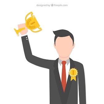 Uomo d'affari con un trofeo