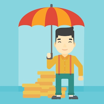 Businessman with umbrella protecting money.