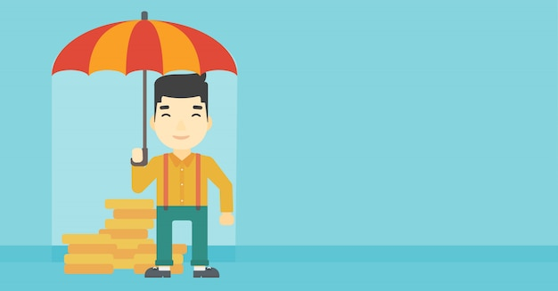 Businessman with umbrella protecting money.