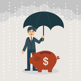 A businessman with umbrella protecting the piggy bank
