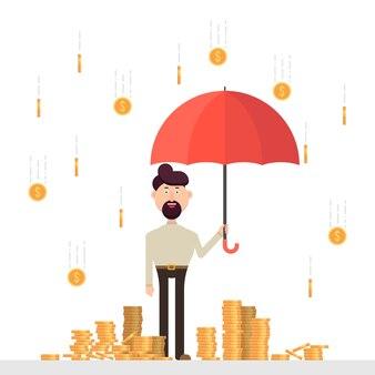 Бизнесмен с зонтиком под дождем из монет