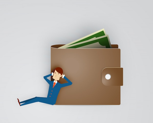 Businessman with wallet and cash paper art illustration vector