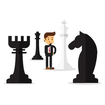 Businessman with white king chess piece