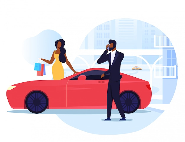 Businessman with wife flat illustration