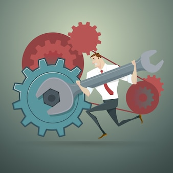Businessman with wrench and cogs. vector illustration.