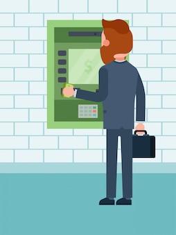 ビジネスマンは、クレジットカードから現金の金額を引き出し、男性キャラクターは、図、白で隔離される通貨口座預け払い機を補充しました。