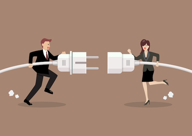Businessman and woman connecting hold plug and outlet in hand