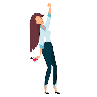 Бизнесмен женщина держит чашку кофе и тянется цветные векторные иллюстрации шаржа