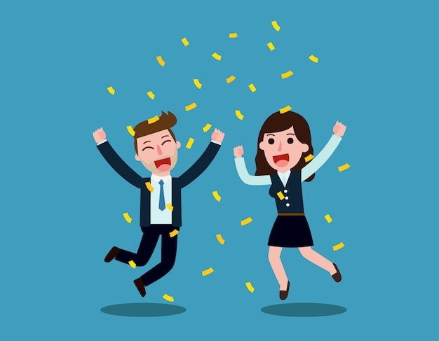 Businessman and woman jump with happiness together