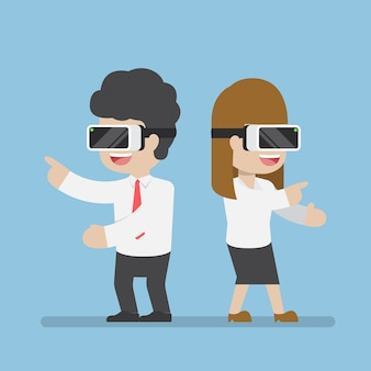 Businessman and woman playing with vr glasses, business and virtual reality technology concept