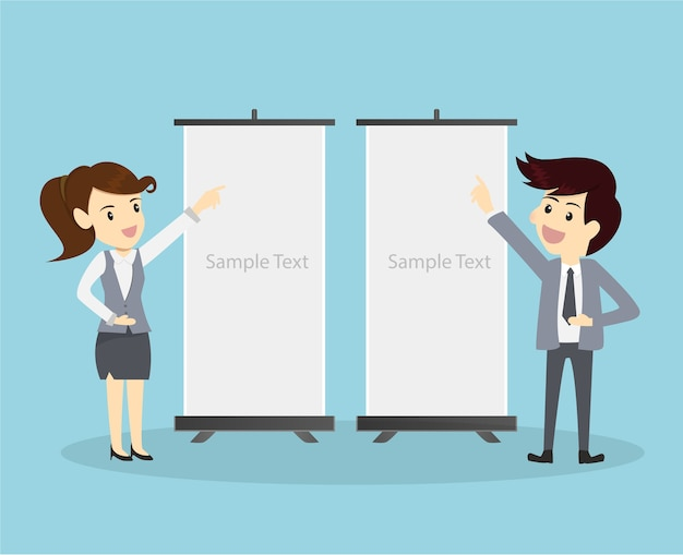 Businessman and woman show presentation board.