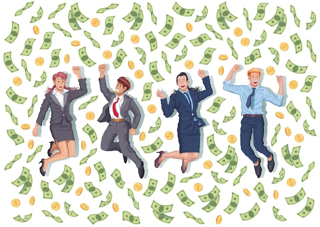 Businessman and woman team jumping together with money drop from sky vector illustration