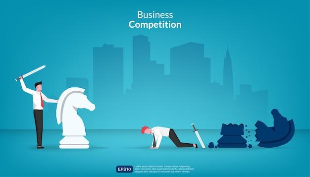 사업가 싸움 개념에서 다른 승리.