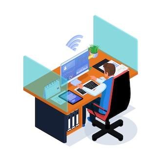 ビジネスマンは、インターネット接続のあるワークスペースで作業します。