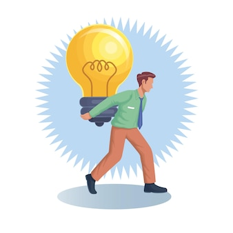 ビジネスマンの労働者は、背中の平らなベクトル図に巨大な電球を運ぶ