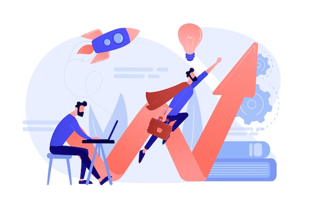 사업가 작업 및 서류 가방으로 슈퍼 히어로처럼 비행. 발사를 시작하고 흰색 배경에 벤처 및 기업가 정신 개념을 시작하십시오.