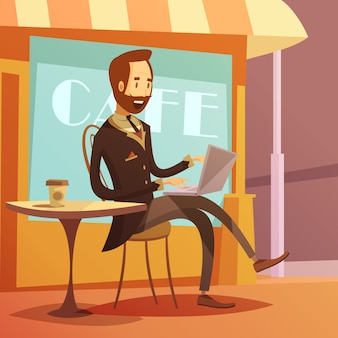 Businessman working background with laptop table and coffee