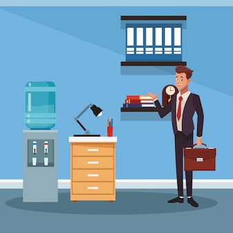Businessman working cartoon