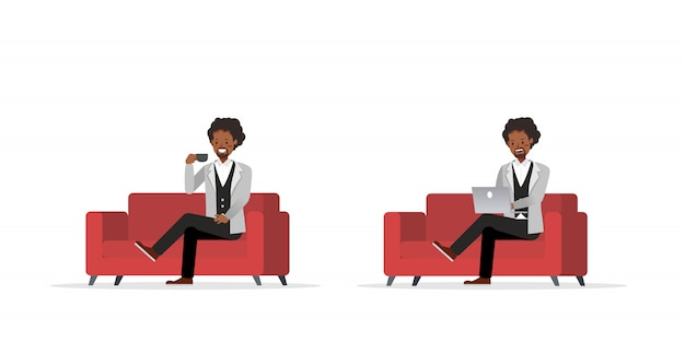 Businessman working character set